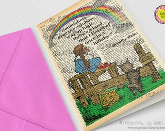 Dorothy somewhere over the rainbow Card-Oz car-thank you card-Invitation card-fairy tale card-Note card-quote card- by NATURA PICTA NPGC043