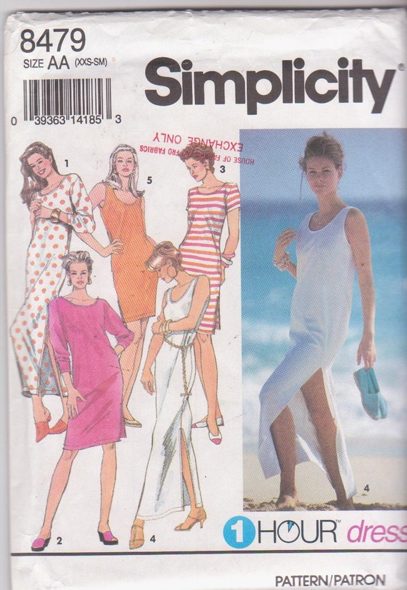 Easy sewing pattern for stretch knit straight summer dress or