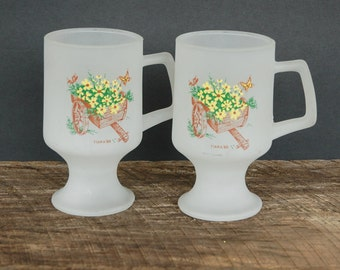 Vintage Frosted Coffee Mugs Cart and Flowers Tiara