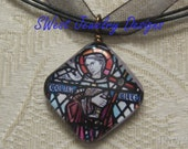St. Columba Stained glass window glass charm pendant necklace