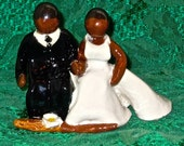 African American Wedding Cake Topper - Jumping The Broom Wedding Cake Topper