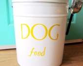 Pet Food Storage Tin Yellow Lettering