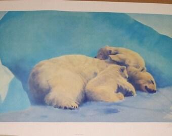 "Fred Machetanz ""When Three's a Crowd"" Limited Edition Alaskan Artist Lithograph / Polar Bear Alaska"