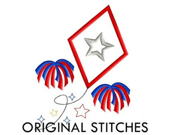 Patriotic Kite Applique and Machine Embroidery Design File 4x4 5x7 6x10