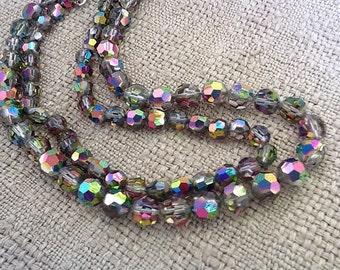 Vintage double strand aurora borealis watermelon vitrail crystal necklace