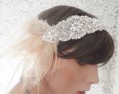 BRIDAL HEADPIECE BRIDAL headband Gatsby headband Gatsby headpiece bridal headpiece champagne feather roaring 20's bridal hair accessories