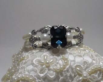 Dark Sapphire wedding bracelet pearl wedding bracelet wedding jewelry bridal braclet wedding accessories bridal accessories Art deco