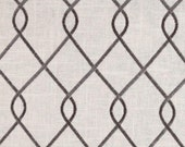 """Four  108"""" x 50""""  Custom Curtain Panels - Duralee  Embroidered Rico - Grey"""