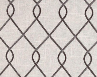 "Two 96""L x 50""W Custom  Curtain Panels   - Duralee  Embroidered Rico - Grey"