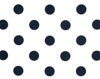 "Two  96"" x 50""  Custom   Curtain Panels - Dots Navy Blue/White - Euro Shams and Bedskirts Available"
