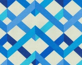 Two 20 x 20  Custom Decorative Pillow Covers for Indoor/Outdoor Trellis Zig Zag -  Blue