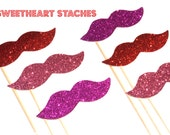 Sweetheart Staches Glitter Mustache Collection - Set of 6 - Pink, Red, and Hot Pink Glitter Staches