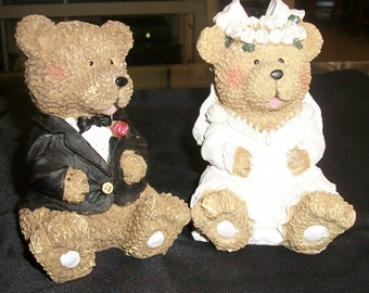 Wedding Bride And Groom Bear Cake Toppers