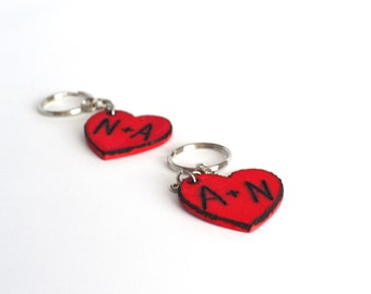 Valentine personalized keychain hand engraved red wood heart! Set of 2