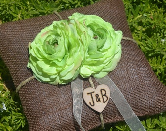 Brown Burlap Ring bearer pillow with green lime flowers You personalize it 10% discount promo code SPRING entire shop