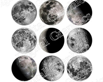 Moon Digital Graphics Lunar Astronomy Space Universe Moon Download Digital Collage Sheet Instant Download 1 inch circles on 4 x 6 sheet