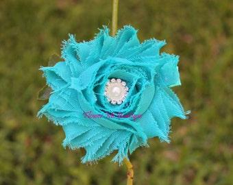 Teal Shabby Hair Flower, Hair Clips, Hair Bows, Headband, Baby Toddler, Infant, Newborn, Flower Girl Hair Accessories, Flower Headband, Baby