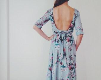 Maxi chiffon dress with scoop back