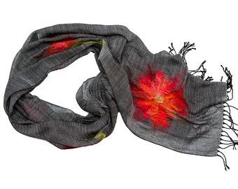 Rayon shawl, merino wool, red, grey, green -  Dahlia Made to order