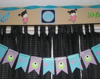 Monsters Inc. banner, Sully and Mike banner, Monsters Inc. birthday party