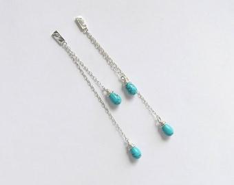 Long Dangle Earrings - Sterling Silver Chain Earrings - Turquoise Drops Earrings - Long Post Earrings