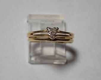 Estate Heart Shaped Diamond Wedding Ring Set .25 Carat 1970s Yellow Gold 14K 3.1gm Size 6.75
