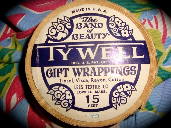 Antique RoLL TYWeLL TiNSEL GiFT WRaPPING RiBBON 15 ft