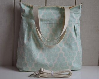 Hive in Mint - Pleated Diaper Bag With Tote Straps and Removable Cross Body Strap, Recessed Zipper