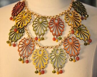 Handmade Vintage Burnt Orange, Goldenrod and Moss Wooden Fan Necklace