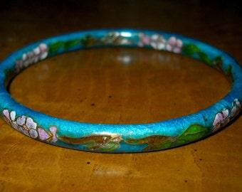 cloisonne vintage bracelet bangle, hand painted floral, teal, pink enamel, 1970's