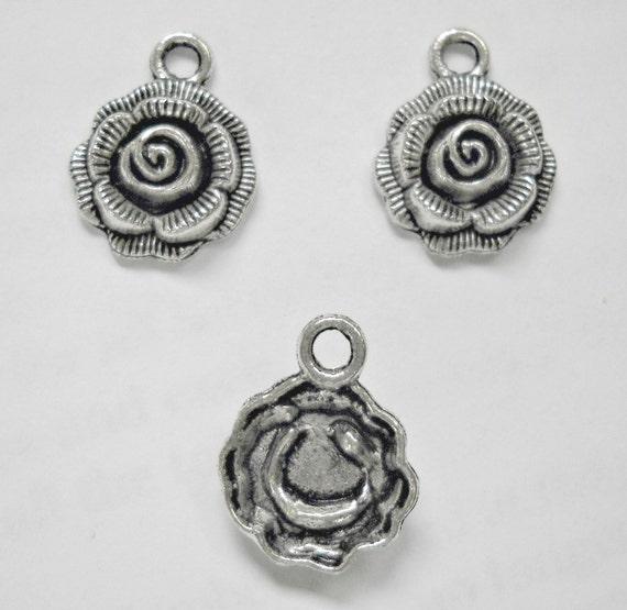 silver rose charm, flower, antique look, 6 pcs