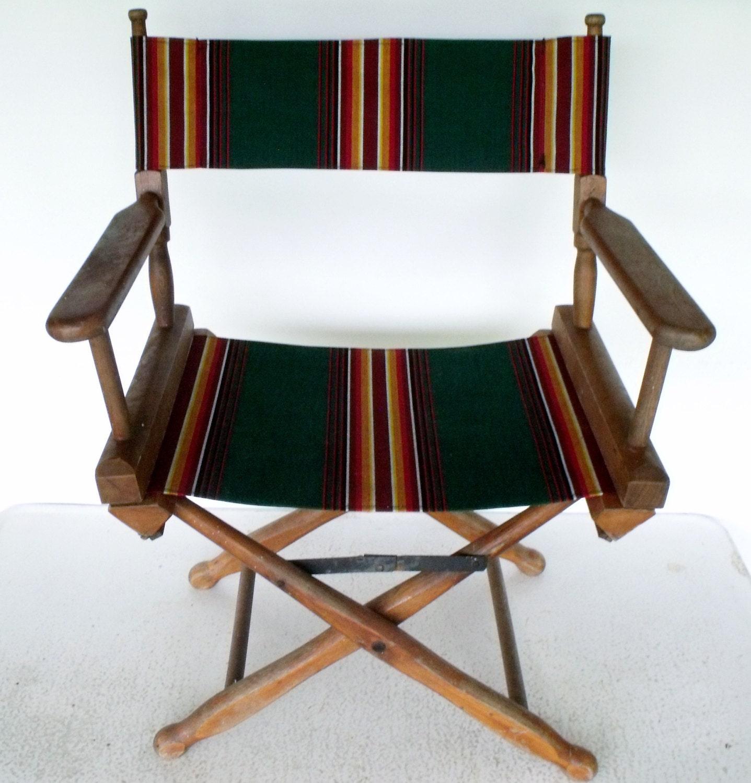 Administration chaise pliante bois toile bois vintage - Chaise pliante toile ...