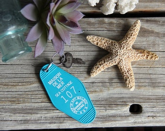Maison de la Mer (The Sea Cottage). Vintage Style Hotel Key Chain.