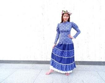 Vintage prairie skirt vintage blouse blue vintage dress festival skirt festival dress