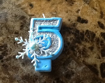Frozen Inspired Snowflake Painted Candle with Glitter birthday candle cake candle cake topper birthday party