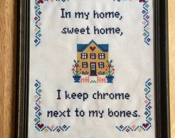 PATTERN Rap Cross Stitch Chrome Next to My Bones