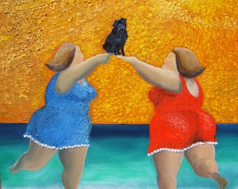 """Black Pug Dog Art Print of an original oil painting,""""That's Our Soul Up There"""",Dog Art,8x10"""