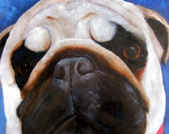 "Pug Dog Art Print of an original oil painting - ""The Look""...FEED ME!/8 x 10/Dog Art"