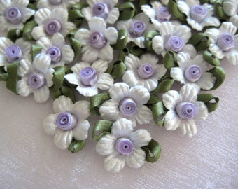 Lavender White Satin Flower Appliques with Dark Green Leaves for Crafting, scrapbooking, Sewing, Doll Clothes, Embellishment, 1 inch, 20 pcs