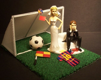 NO Soccer Football Futbol FIFA Got the Red Card Bride and Groom Messi with Goal Wedding Cake Topper World Cup Funny