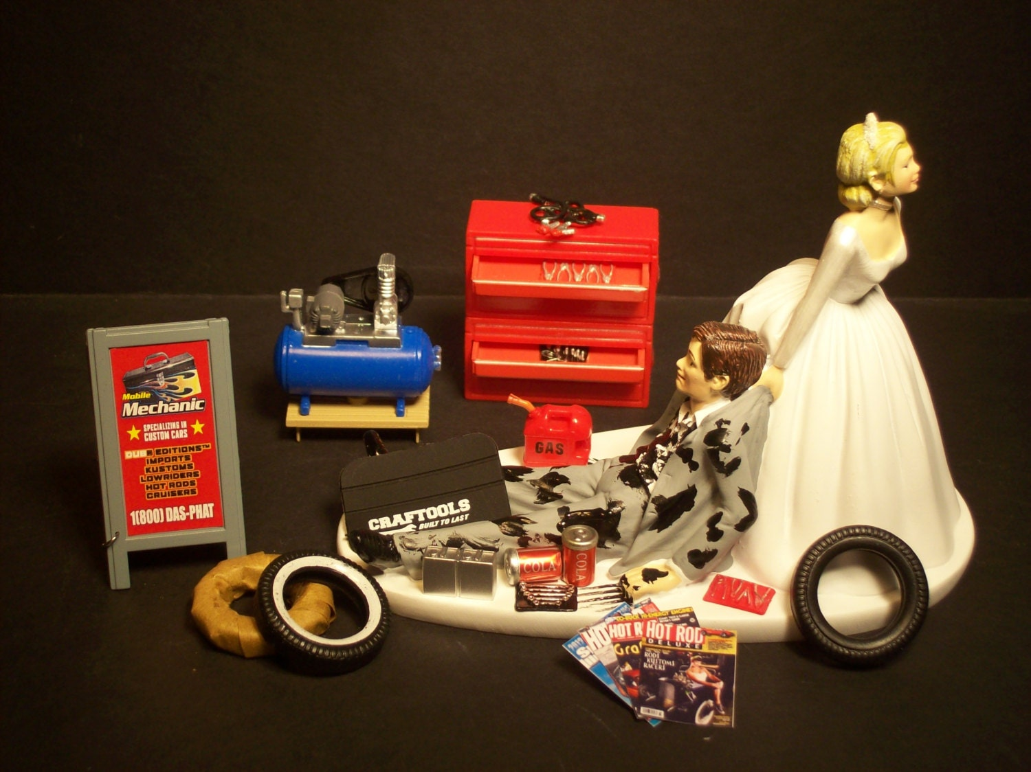 car guy wedding cake topper auto mechanic and groom wedding cake topper tools 12388