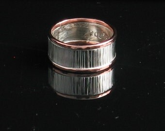 Handmade Sterling Silver and Copper Wide Band Dual Texture Ring - Men Unisex