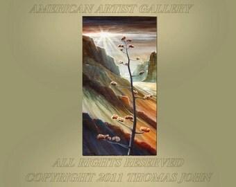 ORIGINAL  Southwest Painting Canyon Sunset Landscape Large 24x48 Wall Art By Thomas John