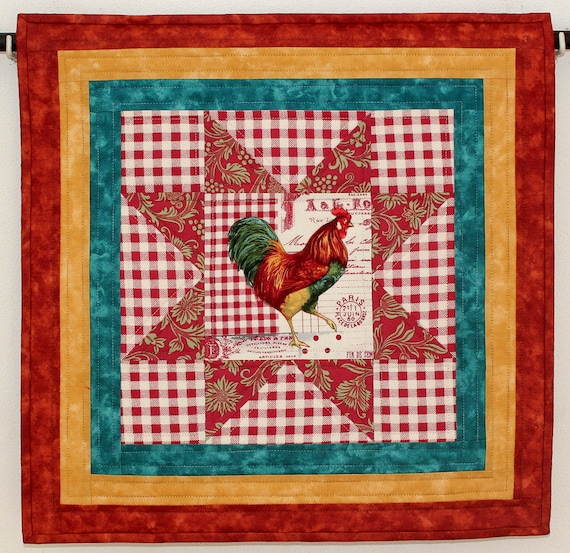 Rooster Wall Hanging Quilted Wall Hanging Red by RedNeedleQuilts