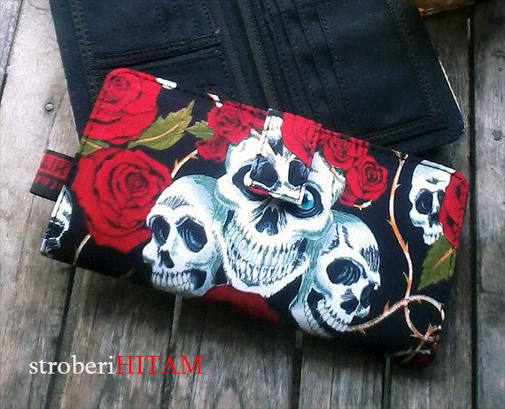 Alexander Henry's Skulls n Roses Clutch wallet handmade - one of a kind