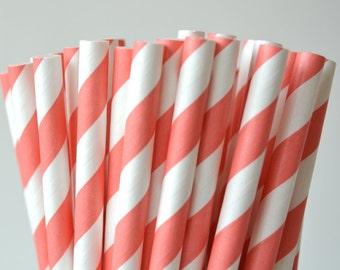 50 Dark Coral Stripe Paper Straws, Made in USA