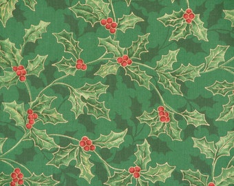 Holy Berry Fabric Green Christmas Fabric Holiday 100% Cotton 59 in. Wide 1 & 2/3 Yard.
