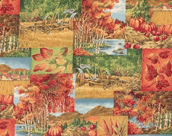 Pampkin Fabric Cotton Fabric Halloween Fabric Fall Fabric VIP Print by Joan Messmore Cranston  Print Works Co. Autumn Discontinue 1 Yard
