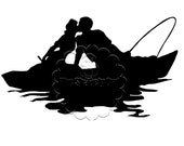 Kissing Couple Fishing Silhouette Die Cut for Scrapbooking, Cardmaking, or Paper Crafts