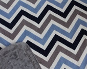 Minky Blanket Navy, Denim and White Chevron Print Minky with Grey Dimple Dot Minky Backing - Perfect Size for a Baby or Toddler